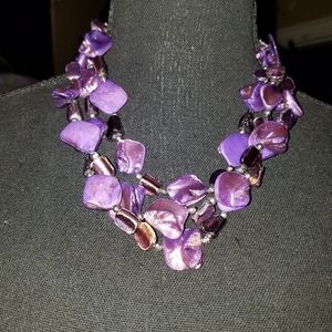 Jewelry - Purple Stone and Bead Necklace